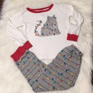 Gymboree Cat Christmas Light Pajamas Size 6